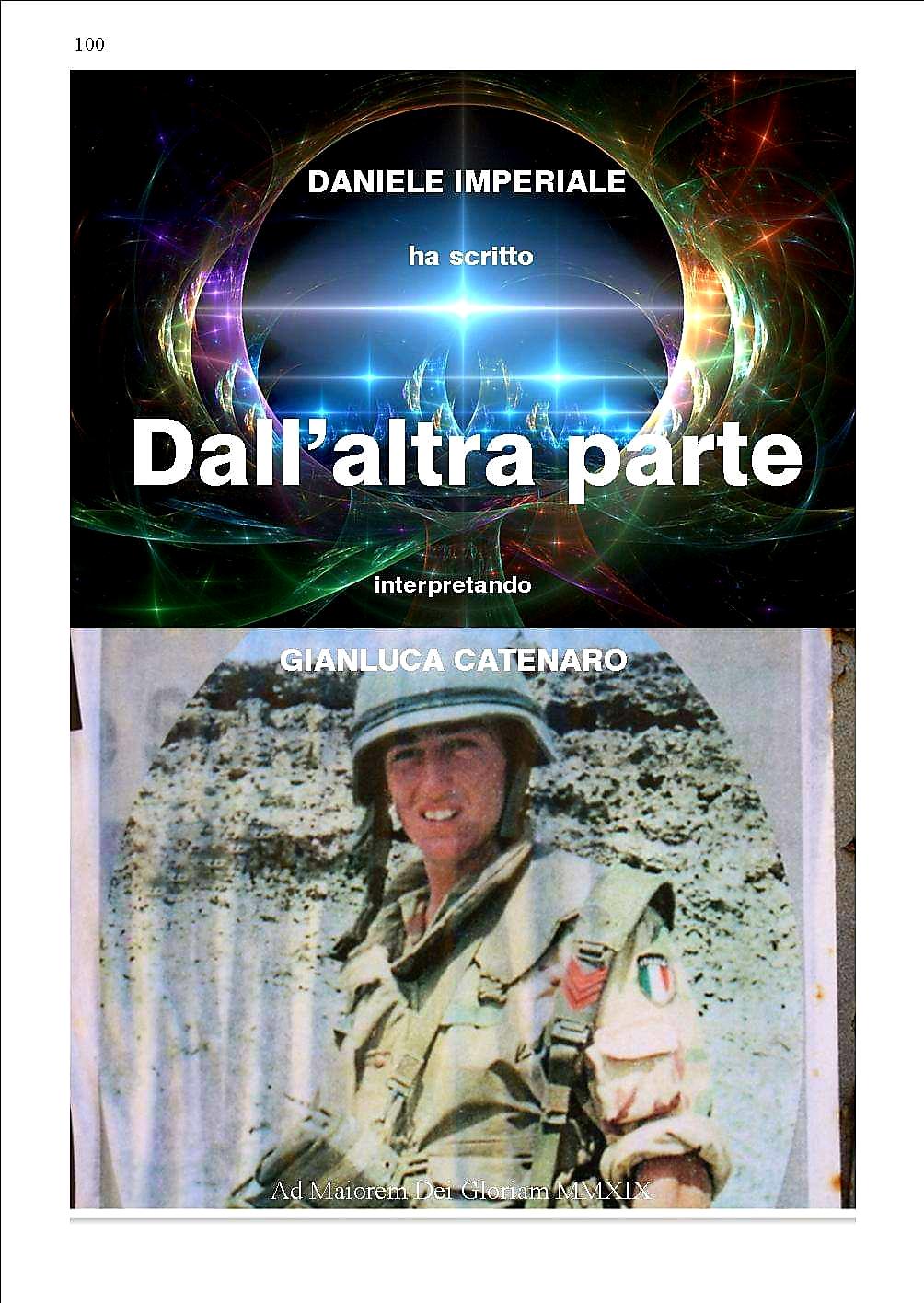 """Ultimato il libro """"Dall'altra parte"""", in cui l'autore Daniele Imperiale interpreta la vita del C.m. Gianluca Catenaro"""